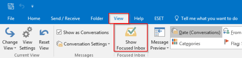 View Tab on the ribbon and Focused Inbox Button